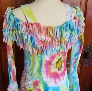 Tied dyed Boho fringed & pleated off the shoulder